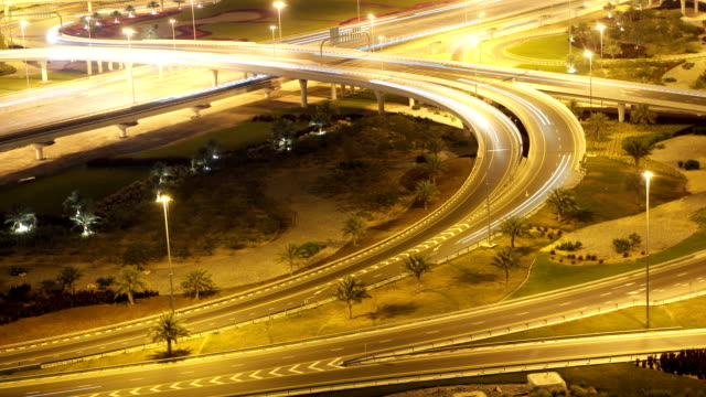 Fast Road Intersection Complex highways intersection at night.. fork stock videos & royalty-free footage