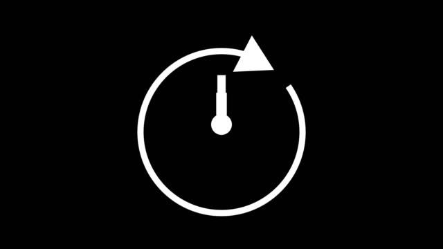 Schnelle Zeit Zwölf Stunden, Stoppuhr animierte Symboluhr mit beweglichen Pfeilen einfache Animation. Zeitzähler-Symbol-Stock-Video – Video