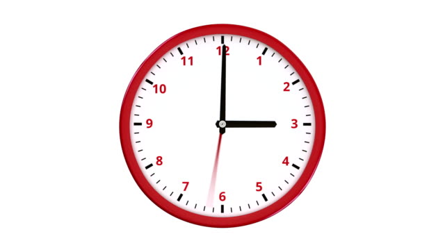 Fast turning clock hands on round red clock. video
