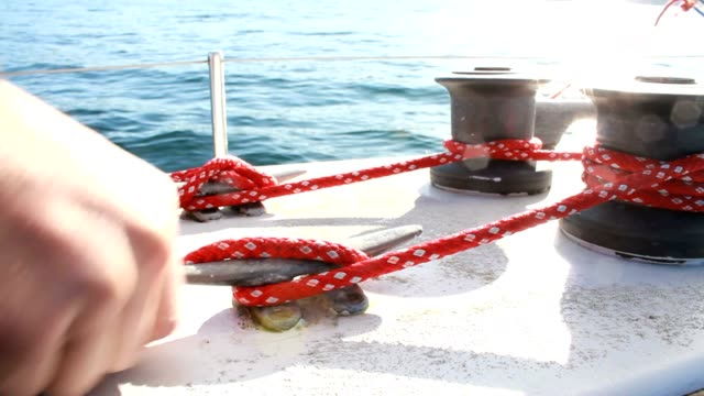 Fastening a nautical cleat 1080p HD