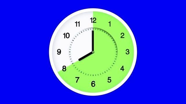16:8 クロマキーで速く動く断食時計の時間の経過。午前12時から午後12時まで速く走ります。16/8 分割断続断食。餌、フェディング、締め切り、目覚め、時間、減量、食事ゾーン、食事、健康� - 体への関心点の映像素材/bロール