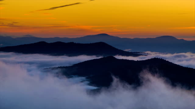 Fast-moving Misty Clouds at Golden Sunrise over Blue Ridge Mountains video