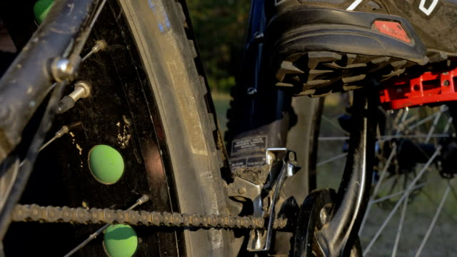 Fat bike also called fatbike or fat-tire bike in summer riding in the forest. video