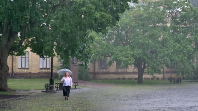 Fat ginger girl is running in park under rain, holding umbrella