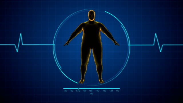 Fat man to Fit man or healthy man Fat to fit human x-ray weight loss stock videos & royalty-free footage