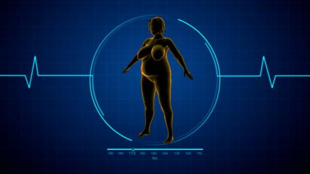 vídeos de stock, filmes e b-roll de mulher gorda para caber a mulher ou a mulher saudável ou a perda de peso - gordura
