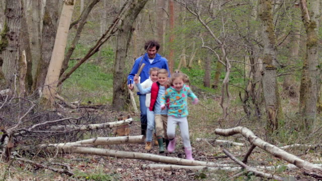 Father And Children Playing Game In Forest video