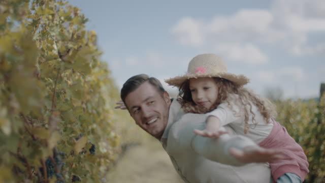 vídeos de stock e filmes b-roll de father and daugher spending time in vineyard - uva shiraz