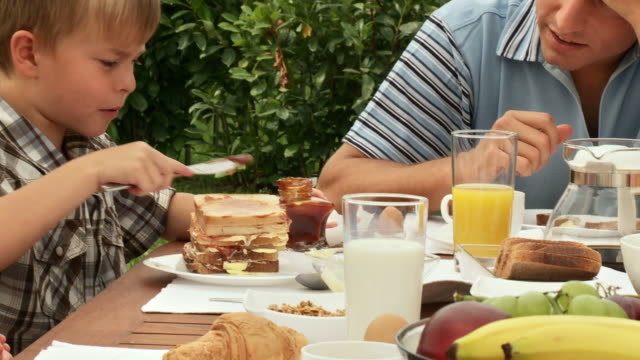 HD: Father and Son At Breakfast video