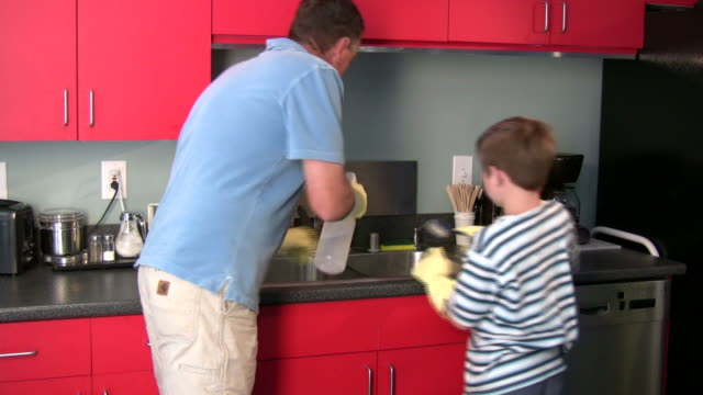 (HD1080i )父と息子と一緒のクリーニング ビデオ