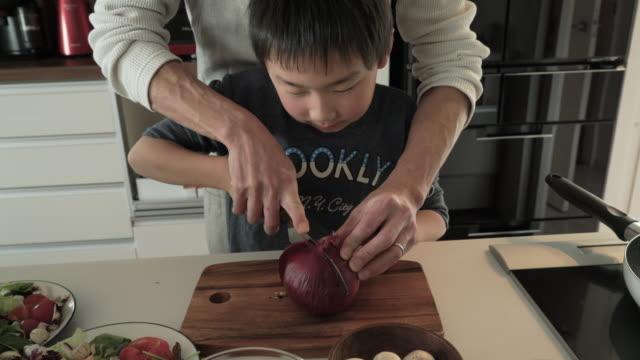 父と息子のレッドオニオンカティング - 野菜点の映像素材/bロール