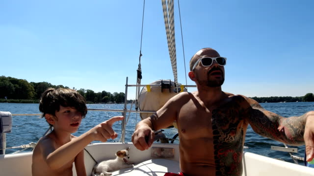 Father and son in a Nautical Vessel
