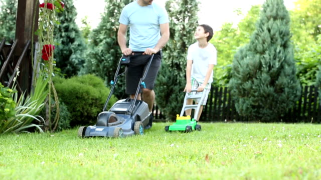 hd: father and son mowing grass in a backyard. - gräsmatta odlad mark bildbanksvideor och videomaterial från bakom kulisserna