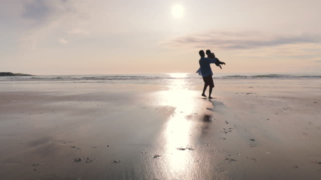 father and son on beach - padre single video stock e b–roll