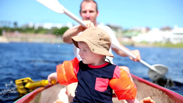 Father and son paddling together video