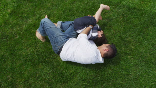 father and son playing together in grass - wrestling stock videos and b-roll footage