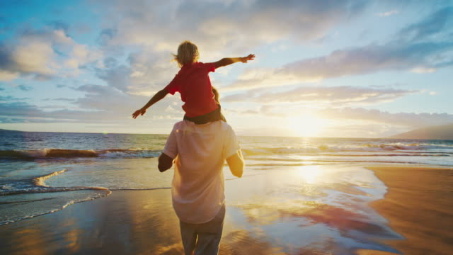 Father and Son Playing Father and son on the beach at sunset love emotion stock videos & royalty-free footage