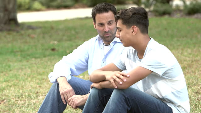 Father and son sitting on lawn, talking video