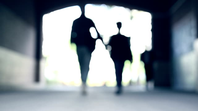 father and son walk together in tunnel - padre single video stock e b–roll