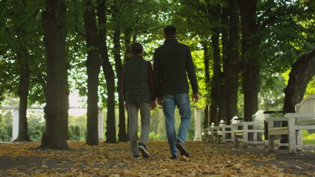 vídeos y material grabado en eventos de stock de padre y el hijo caminando en el parque. vista trasera del tiro. - madre e hijos