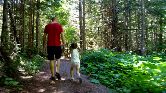 father bonding with his daughter in nature - bambine femmine video stock e b–roll