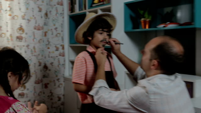 Father Does His Son's Make-Up Mustache video