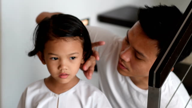 father getting his daughter ready for school - girl stock videos & royalty-free footage