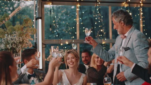 vídeos de stock, filmes e b-roll de recém-casados do cumprimento do pai e levantando o brinde - discurso