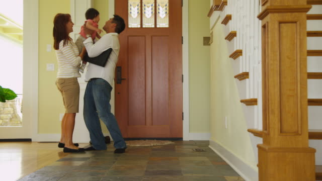 Father is greeted at front door video