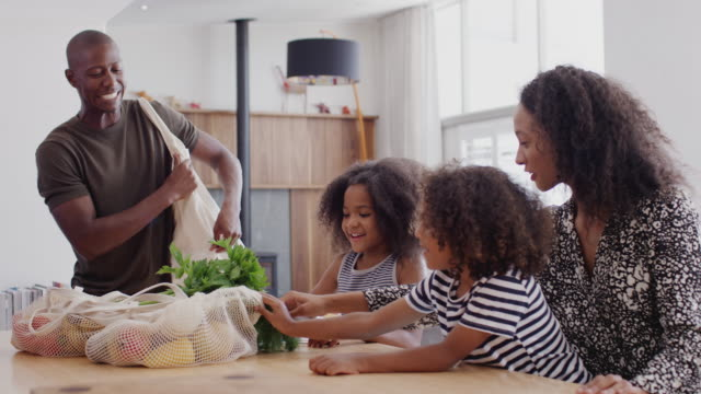 father returns home from shopping trip as mother helps children with homework on kitchen table - portare video stock e b–roll