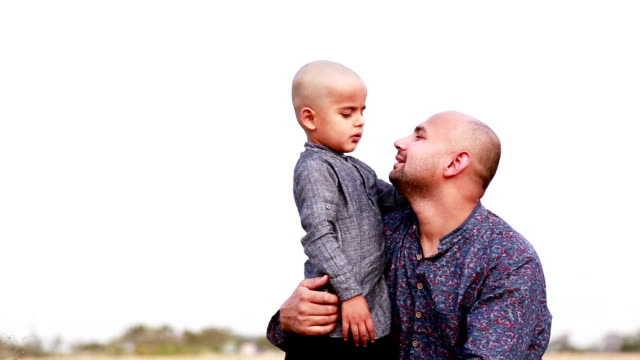 Father & son loving portrait outdoor video
