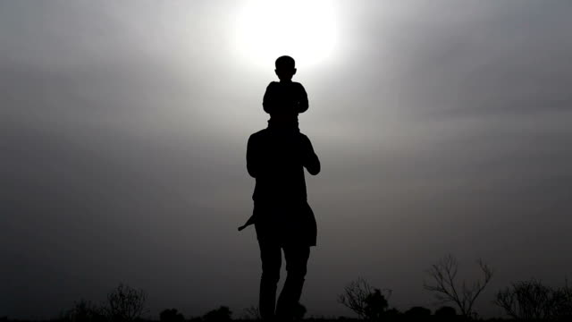 Father & son loving silhouette video