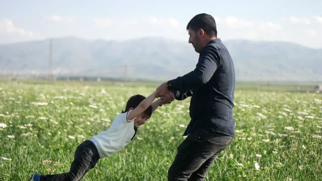 Father spinning his son around in meadow in sunshine