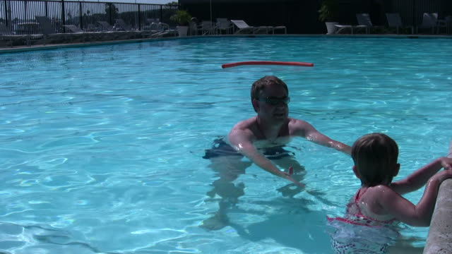 (HD1080i) Father Teaching Child to Swim from Pool Edge