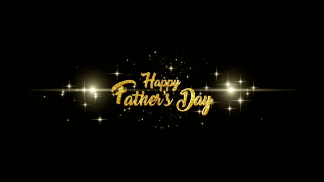 Fathers day Beautiful golden greeting Text Appearance from blinking particles with golden fireworks background. video