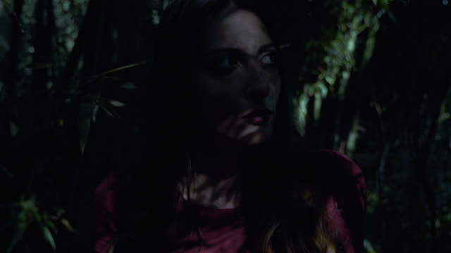 fear,hide,mistery. young pretty woman hiding in the dark forest - woman portrait forest video stock e b–roll