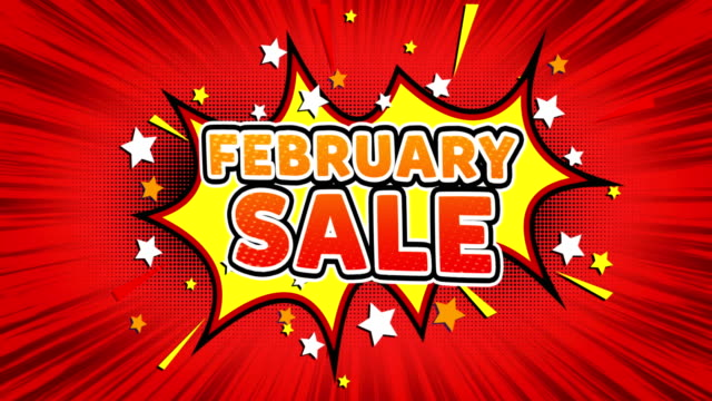 February Sale Text Pop Art Style Comic Expression.