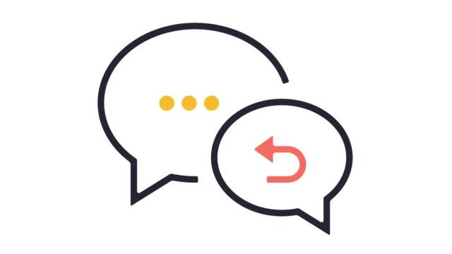 Feedback Icon Animation Thin line animation of speech bubble icon on white background. survey icon stock videos & royalty-free footage