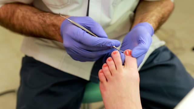 Feet care procedure, medical pedicure, pedicure with machine video