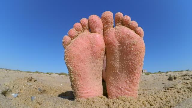 kumlu sahilde zımpara kum ile mayınları ayak bacaklar serpilir. - i̇nsan sırtı stok videoları ve detay görüntü çekimi