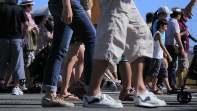 Feet of crowd at the summer festival. video