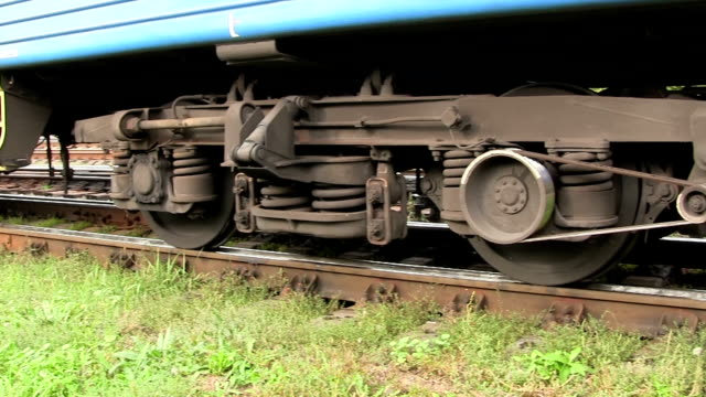 Feet of the person going behind a railway car