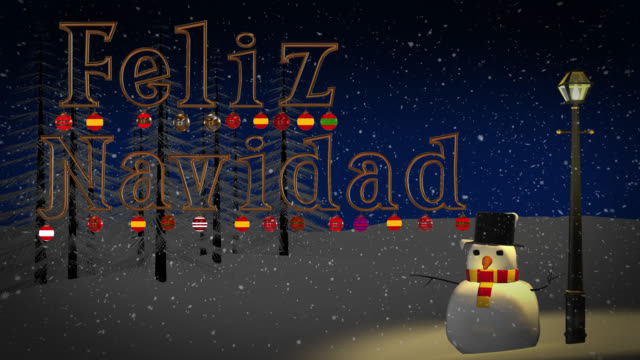 Feliz Navidad greeting with snowman and old gas lamp video