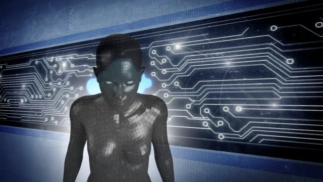 female android form in front of glowing computer circuit board - figura femminile video stock e b–roll