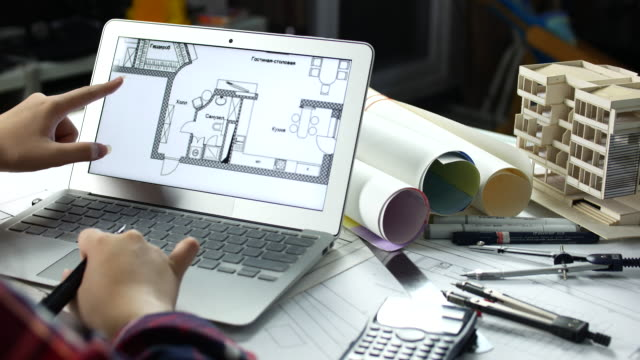Female Architect working with Laptop at home office architecture, Architect concept video