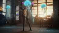 istock Female Artist Wearing Augmented Reality Headset Working on Abstract 3D Jellyfish Sculpture with Joysticks, Uses Gestures To Create High-Tech Internet Multimedia Concept Art.3D Animation Special Effect 1226184074