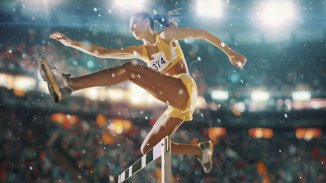 Female athlete hurdle on sports race Female athlete hurdle on sports race. The action takes place on a professional sports arena with bleaches full of people. Arena and people on it are made in 3D and animated. conquering adversity stock videos & royalty-free footage
