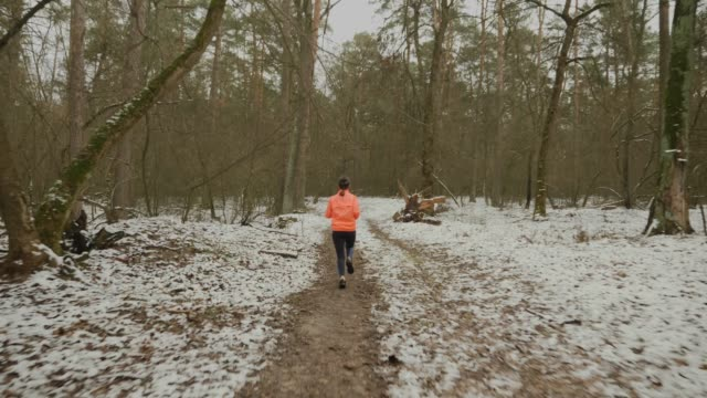 Female athlete running in winter park. Woman intense jogging in forest. Professional girl runner hard training and preparing for half marathon. Woman doing daily outdoor workouts. Trail run concept