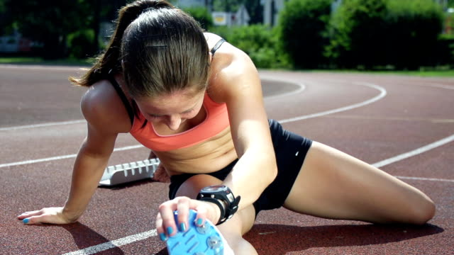 HD SUPER SLOW-MO: Female Athlete Warming Up video