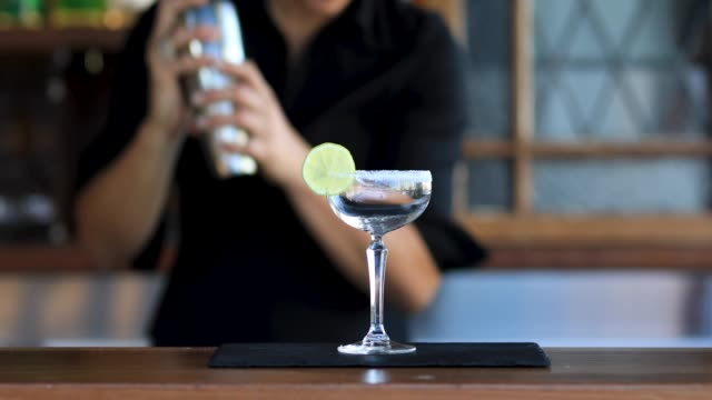 Female Bartender Making Cocktails video